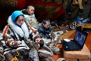 Nenet children, two boys and a teenage girl, watching laptop inside tent. The girl is sewing reindeer skin. Yar-Sale district. Yamal, Northwest Siberia, Russia. April  2016.  -  Eric Baccega