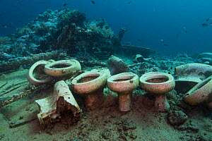 Toilet cargo from the wreck of the Yolanda, Ras Mohammed National Park, Northern Red Sea, Februray 2016  -  Bertie Gregory
