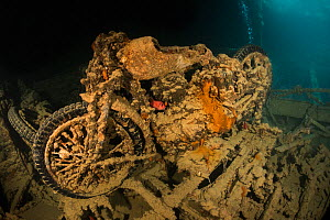 Second world war motorbike in the cargo hold of the SS Thistlegorm, northern Red Sea, February 2016 - Bertie Gregory