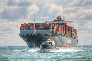 Container ship with tug boat, The Solent, UK. July 2015. - Ingrid  Abery