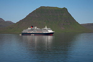 Cunard cruise liner 'Queen Victoria' anchored at Kirgjufell, Grundarfjordur, Iceland. July 2009.  -  Mike Read