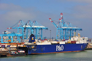 P&O freight ferry in the Port of Zeebrugge, Belgium, Europe. June 2010. - Philippe Clement
