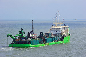 Dredger Jade River on North Sea, Belgium, Europe. June 2010.  -  Philippe Clement