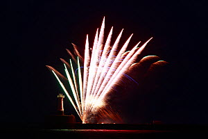 Firework display at Peterhead harbour, Aberdeenshire, Scotland, UK. July 2011.  -  Philip  Stephen