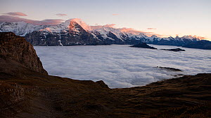 Timelapse of temperature inversion clouds at sunset, Swiss Alps, Switzerland. October 2013. - John Waters
