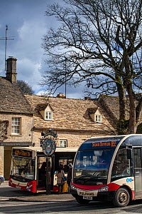 Rural public transport, a Cotswold Discoverer Bus in Northleach, Gloucestershire, UK. March 2014.  -  Nick Turner