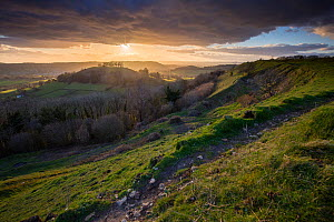 Downham Hill from iron age hill fort at Uley Bury, Cotswold escarpment, Gloucestershire, England, UK.  March 2015.  -  Nick Turner
