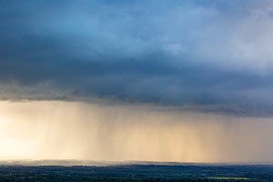 Rain storm across Gloucestershire countryside at Dover's Hill, Chipping Campden, Gloucestershire, UK. May 2015. - Nick Turner