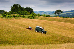 Grassland/Meadow seed harvesting by the Cotswolds Conservation Board, Syreford, Gloucestershire, UK. July 2015. - Nick Turner