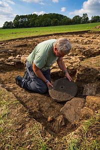 Archaeologist with quern stone at an excavation of a 2nd century Roman villa at Hanging Hill, Gloucestershire, UK. September 2015.  -  Nick Turner