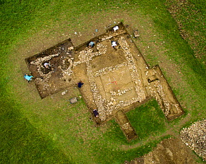 Aerial view of an archaeological dig, Hanging Hill Roman Villa, Upton Cheyney, Bath, UK. Aerial drone with CAA permit. October 2015.  -  Nick Turner