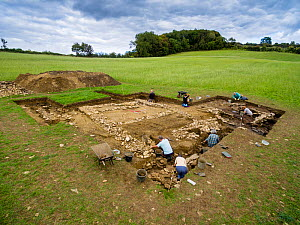 Archaeological dig, Hanging Hill Roman Villa, Upton Cheyney, Bath, UK. Aerial drone with CAA permit. October 2015  -  Nick Turner