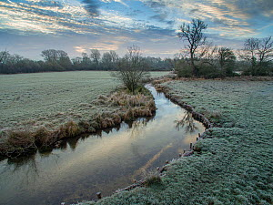 River Eye flowing through water meadows on Greystones Farm Nature Reserve, Site of Special Scientific Interest (SSSI). Gloucestershire Wildlife Trust, Bourton-on-the-Water, Gloucestershire, UK. Shot b...  -  Nick Turner