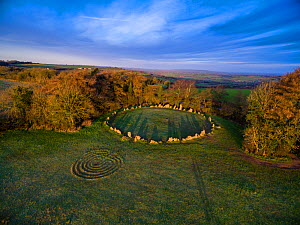 Aerial view of King's Men stone circle, part of Rollright Stones neolithic complex. Great Rollright, Oxfordshire, UK. January 2016.  -  Nick Turner