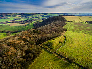 Aerial view of Belas Knap, a neolithic chambered long barrow on the Cotswold Way, Winchcombe, Gloucestershire, UK.  Shot with aerial drone by CAA permit holder. January 2016. - Nick Turner