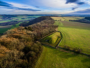 Aerial view of Belas Knap, a neolithic chambered long barrow on the Cotswold Way, Winchcombe, Gloucestershire, UK. Shot by aerial drone with CAA permit. January 2016. - Nick Turner