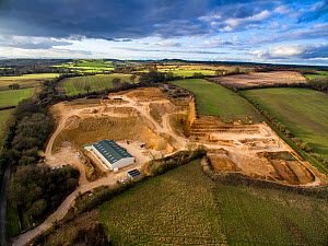 A limestone quarry at Syreford Quarry, Gloucestershire, UK. Shot with aerial drone by CAA permit holder. February 2016. - Nick Turner