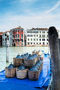 Flasks of Olive Oil awaiting delivery, Venice, Italy, April. - Gary  K. Smith