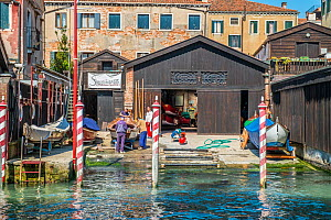 Boat repair yard, Venice, Italy, April.  -  Gary  K. Smith