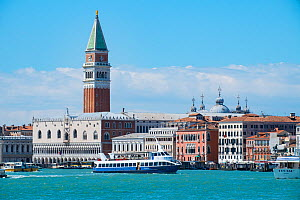 Adriatic coastline and waterfront of Venice with prominent bell tower in St Marks Square, Italy, April.  -  Gary  K. Smith
