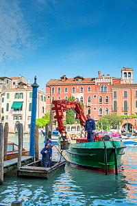 Maintenance barge repairing mooring posts on Grand Canal, Venice, Italy.  -  Gary  K. Smith