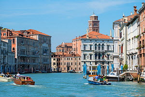 Wide canal with boats, Venice, Italy.  -  Gary  K. Smith