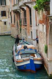 Deliveries by canal barge Venice, Italy, April. - Gary  K. Smith