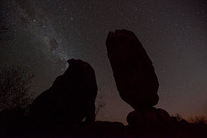 The Milky Way and stars over the silhouette of the Balancing Rock, Chillagoe, Queensland,Australia.  -  Jurgen Freund