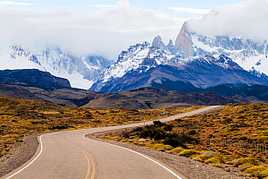 Route 40 in the Patagonian steppe, Argentina, approaching El Chalten and the Fitzroy Mountains, January 2014. (This image may be licensed either as rights managed or royalty free.)  -  Merryn  Thomas