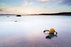 Dusk on Old Quay, St. Martin's Flats, with buoy in shallows. St. Martin's, Isles of Scilly. England. May 2013. - Merryn  Thomas