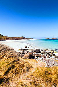 Beach at Cradle Porth and Block House, Tresco, Isles of Scilly, England. May 2013.  -  Merryn  Thomas