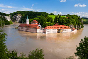 Danube flooding with Weltenburg Monastery protected by flood control measures,  Weltenburger Enge Nature Reserve, Kelheim county, Bavaria, Germany, June 2013  -  Martin Gabriel