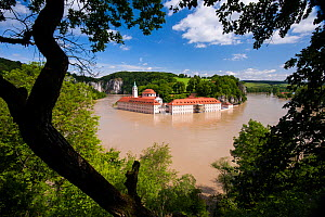 High water of the Danube, Weltenburg Monastery flooded, but protected by flood control measures, nature reserve Weltenburger Enge, Kelheim county, Bavaria, Germany, June 2013  -  Martin Gabriel