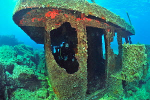 A diver on the wreck of the Vera K, a Lebanese freighter, sunk in 1974 on the reef near Paphos, Cyprus, Mediterranean Sea  -  Pascal Kobeh