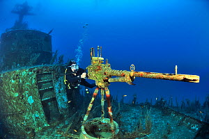 A diver near the machine gun on the deck of the wreck of the P 29 a patrol boat scuttled as an artificial dive site in August 2007, Malta, Mediterranean  -  Pascal Kobeh