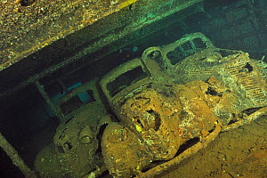The hold with three Fiat 1100 of the Umbria wreck, Sudan, Red Sea  -  Pascal Kobeh
