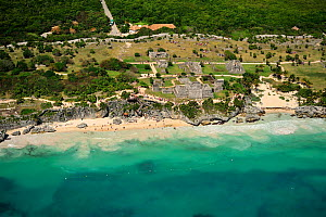 Aerial view of Tulum a Mayan a fortified city of the 10th century located near the sea, Yucatan peninsula, Mexico  -  Pascal Kobeh
