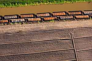 Aerial view of sugarcane barges (punts) East Guyana, South America  -  Pete Oxford