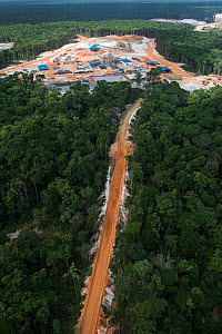 Aerial view of gold mining, Guyana, South America - Pete Oxford