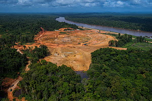 Aerial view of Aurora Gold Mining project, Guyana, South America - Pete Oxford