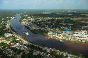 Aerial view of Linden town, Guyana, South America  -  Pete Oxford