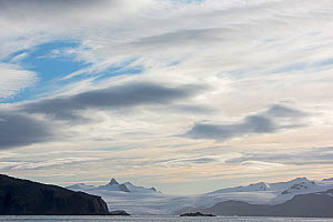 RF - View across Ice Fjord to the Ryan Glacier, South Georgia. January 2015. (This image may be licensed either as rights managed or royalty free.)  -  David Tipling