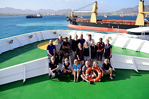 Group of scientists aboard boat cruising around Cape Verde to samplle the deep waters of the Atlantic Ocean, December 2015.  -  Solvin Zankl