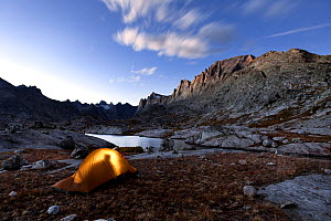 Person silhouetted in tent, camping in Wind River Range, Titcomb Basin, Bridger Wilderness, Bridger National Forest, Wyoming, USA. September 2015. - Kirkendall-Spring