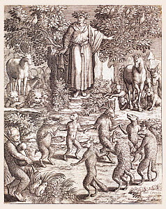 Illustration of Aesop and the animals of his stories engraved by Leonard Gaultier from  'Les images ou tableaux de platte peintre des deux Philostrates Sophistes Grecs' by Flavius Philostratus and Bla...  -  Paul  D Stewart