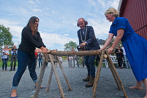 Artists and mayor cutting wood for Land art project in  Valer municipality, Ostfold County, Norway. September 2014.  -  Pal Hermansen