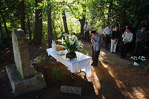 Ceremony and ritual offering to pay tribute to the Chimpanzees which died during scientific experiments into intelligence. These Chimps died of disease. Tokyo University, Japan  -  Cyril Ruoso