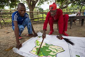 M'boumontour NGO supports different kind of conservation project within the community with the aim of protecting local Bonobo populations (Pan paniscus).  Here villagers mapped themselves the areas th...  -  Cyril Ruoso