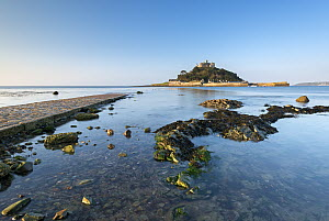 Rising tide floods in Mounts Bay with stone causeway to distant St Michaels Mount, Marazion, Cornwall, England, UK. May 2013. - Adam Burton