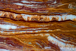 Travertine, sometimes referred to as rainbow onyx. A limestone rock deposited by mineral springs. Sample from Pakistan.  -  John Cancalosi